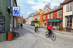 On a bicycle  in Bakklandet (G E Nilsen) Tags: bakklandet on cycling trip trondheim spring houses building trøndelag norway europe