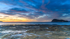 Dawn Seascape from Rock Platform with Island (Merrillie) Tags: daybreak sunrise nature dawn waterscape coast water morning sea newsouthwales rocks pearlbeach nsw rocky lionisland ocean earlymorning landscape waves coastal clouds outdoors seascape australia centralcoast sky seaside