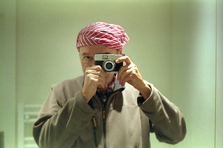 reflected self-portrait with Beirette vsn camera and red and white bandana
