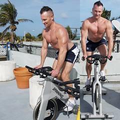 spinning (ddman_70) Tags: shirtless workout outdoor gym spinning pecs shortshorts