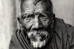 India, old man in Kolkata (Dietmar Temps) Tags: 50mm bengal blackandwhite culture elders ethnic ethnie ethnology eyes face india kolkata naturallight oldman people ritual streetphotography streetportrait tradition traditional wrinkles