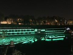 """""""Péniche de croisière"""" by night (Christophe Rose) Tags: ducdalbe seinesaintdenis green vert light lumière nuit night france 93 lîlesaintdenis boat river bateau barge péniche seine"""