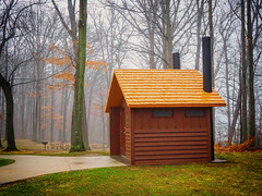 stack_house (gerhil) Tags: landscape park building outdoor fog tree color nikcolorefexpro4 spring march2018 serene peaceful moody melancholy wood grass architecture 1001nights 1001nightsmagiccity
