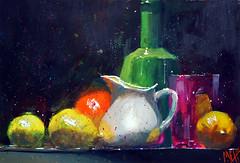 """""""Pot à lait et citrons"""" (andremehu) Tags: fineart painting gouache naturemorte stilllife stillleben stilllifepainting citron vaisselle dish glass transparency"""