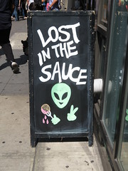 Lost in the Sauce (TheMachineStops) Tags: 2017 outdoor manhattan nyc newyorkcity sign chalk aboard chalkboard text writing alien extraterrestrial