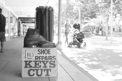 My mother was a liar. (Michael Desimone) Tags: shepparton victoria australia maude street shoe cobbler leather worker giant keys cut belts sun michael desimone flickr canon eos 7d ef28mm f18 usm ƒ28 280 mm 1125 160 black white monochrome spc preserving company
