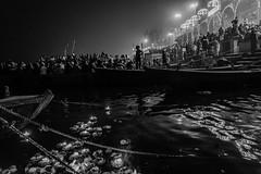 Ganga Aarti | Varanasi 2017 (Vijayaraj PS) Tags: nikon varanasi kasi india heritage ganga ganges water river incredibleindia outdoor ghats asia travel boat migration blackandwhite monochrome background reflection boats lights