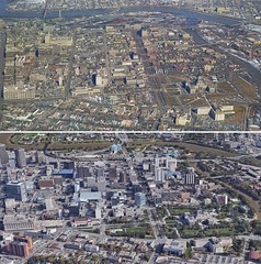 Now & Then - Downtown Aerial (vintage.winnipeg) Tags: winnipeg manitoba canada vintage history historic nowthen aerial