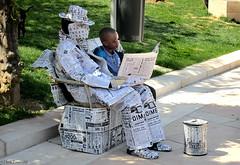 Spain: Málaga newspaper man (Henk Binnendijk) Tags: malaga málaga andalucia andalucía andalusia street artist paperman newspaperman spain spanje people candid españa