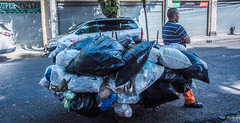 2018 - Mexico City - Pick up Man (Ted's photos - Returns 23 Jun) Tags: 2018 cdmx coyoacan cropped mexico mexicocity nikon nikond750 nikonfx tedmcgrath tedsphotos tedsphotosmexico vignetting man male cart garbage garbagecollector trash trashman streetscene street vehicle shadow shadows pinotepagourmet bags plasticbags garbagebags