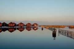 Magical Places and Things - Inle Lake (5) (The Spirit of the World ( On and Off)) Tags: lake inlelake burma myanmar asia fences reflections hotel hotelrooms crops waterscape landscape hills bluehour waterway