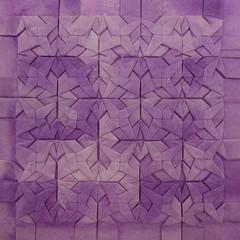 Star Interlace Tessellation (Michał Kosmulski) Tags: origami tessellation interlace weave pursed stars washipaper michałkosmulski purple white