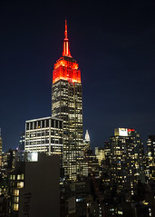 Empire in Red (fantommst) Tags: lisaridings fantommst nyc ny newyork usa unitedstates empire state building red travel association national week tourism midtown highrise skyscraper iconic night lights