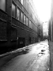 alley-wall_15426881338_o (irrational.photography) Tags: black white monocrhome grey old vintage contrast film grain noise bw gray scale grayscale monochrome architecture up ceiling look looking tilt light cloud glass rectangle support window sky skylight atrium symmetry building structure line indoor outdoor