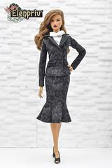 Elegant Black Jacquard Suit by ELENPRIV (elenpriv) Tags: elegant black jacquard suit elenpriv decisive itbe fashion doll fashionroyalty fr16 integrity toys jason wu 16inch 16fashion elena peredreeva handmade clothes