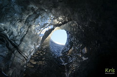 Into a Glacier Cave (Vatnajökull, Iceland) (|kris|) Tags: iceland europe glacier cave ice skylight sky snow blue black transparent vatnajökull adventure explore exploring caving volcano volcanic window roof inside mountain icecap luminous translucent south terminus