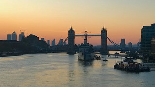 Spring sunrise view of Tower Bridge, London