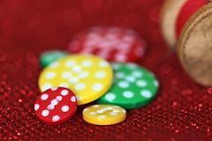 """Circles"" (eleni m) Tags: macromondays circles hmm macro buttons dof red green yellow white dots spool bokeh"