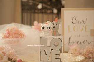 Handmade cat, kitty and dog with LOVE letters wedding cake topper, pets wedding cake decoration ideas