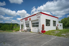 Esso Station (Bob G. Bell) Tags: eso servicestation greenbrier lewisburg gas gasstation clouds sky bobbell xm1 fujifilm 7artisans12mmlens