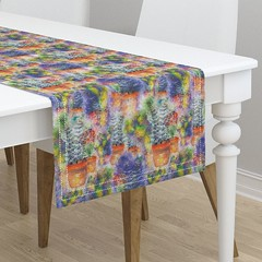 watercolor garden blue orange table runner by Paysmage (paysmage) Tags: watercolor paysmage painted handpainted watercolorpainting garden plants gardening pots spoonflower roostery upholstery fabric fabrics design designers designer decoration wild colorful colors colorways orange blue runner tables tablecloth tablerunner