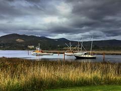 River at Franklin Tasmania (AdamsWife) Tags: australia tasmania franklin river boat boats stormclouds