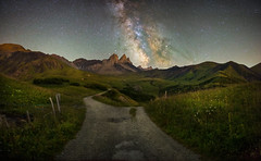 Road to the Stars (Perez Alonso Photography) Tags: france alps frenchalps night milkyway green field ground stars universe galaxy star path road alpes francia arves aiguillesdarves