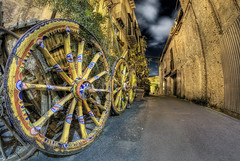 Wheels (Rickydavid) Tags: night notte palermo wheels ruote chariots carretti sicily sicilia nikon fisheye samyang 8mm