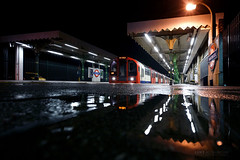 Night reflection at Snaresbrook Station London (Luke Agbaimoni (last rounds)) Tags: london londonunderground londontube train transportforlondon trains transport reflection reflections rain rainy puddle night