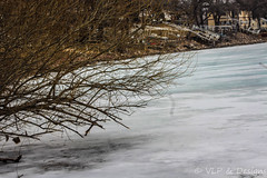Ice Water (vickieklinkhammer) Tags: snow landscape water tree nature outdoors ice frost river reflection lake outdoor cold freezing covered scenery man building sky pond cottage house branch path frozen bank harbor weather standing noperson hill waterfront wood walking season slope town country field architecture dawn april 2018 spring outside homes blue white gray branches