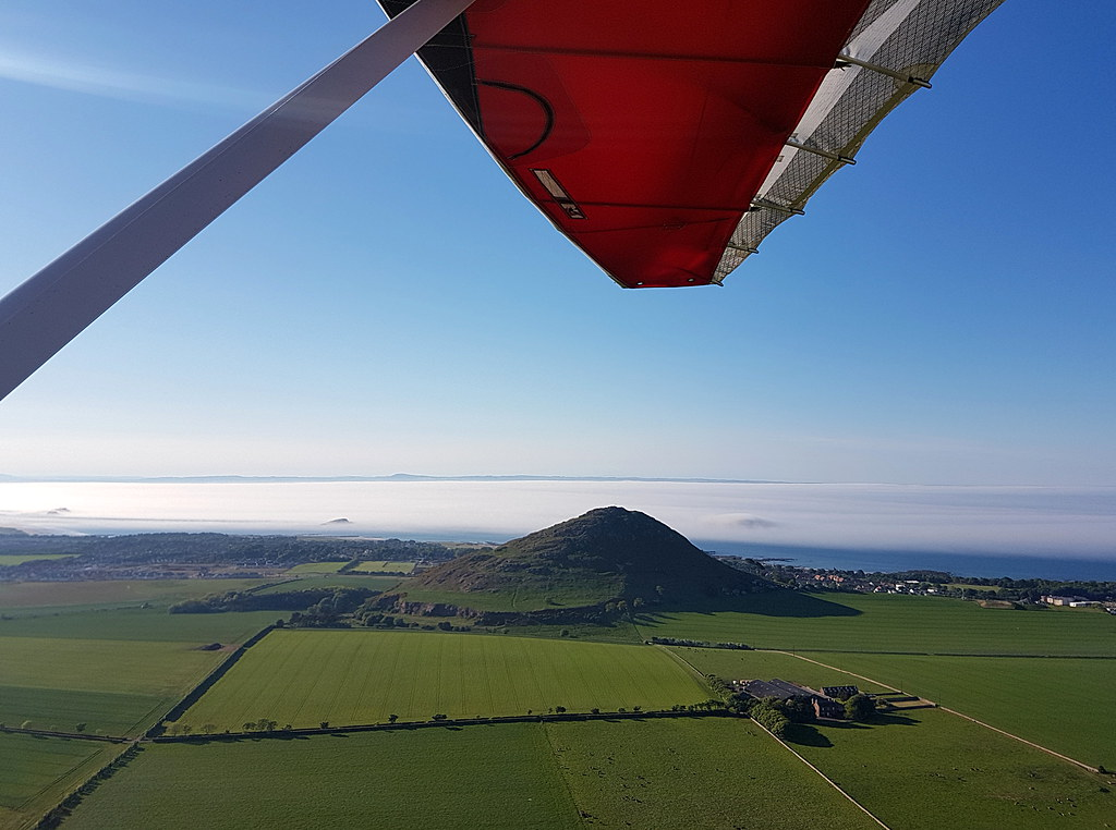 6:46pm - Berwick Law still well clear but Craigleith, The Lamb and Fidra all now enveloped. An hour or so after this photo the airfield and most of the land near the coast was covered once more.