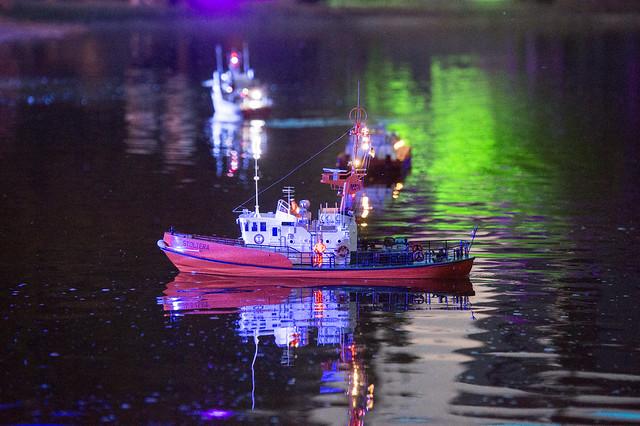 Model boat at sea