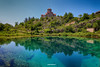 Wellspring of the river Cetina (malioli) Tags: riverside wellspring sky clouds blue church temple fane river water riverbank cetina croatia hrvatska europe knin canon