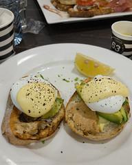 Saturday breakfast. Poached eggs with Hollandaise sauce and avocado. (garydlum) Tags: hollandaisesauce avocado sourdoughbread peanutpaste poachedeggs eggs chermside queensland australia au