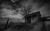 Cabine de Chignin (p.g604) Tags: 20180318imgp9589edit2 chignin cabin france bw blackwhite road tree hillside elevated wideangle sky clouds fence posts auvergnerhônealpes telegraph poles wire cable tiles gravel sticks