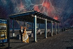 Stormy Night for Bride and Groom (Rusty Russ) Tags: wedding bride groom rain night storm lightning hampton beach boardwalk colorful day digital window flickr country bright happy colour eos scenic america world sunset water sky red nature blue white tree green art light sun cloud park landscape summer city yellow people old new photoshop google bing yahoo stumbleupon getty national geographic creative composite manipulation hue pinterest blog twitter comons wiki pixel artistic topaz filter on1 sunshine image reddit