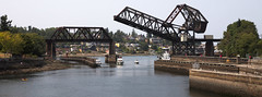 there goes the drawbridge again (n.a.) Tags: metal bridge water ballard locks seattle wa us drawbridge closing salmon bay