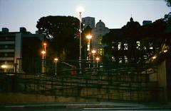 São Paulo, SP, Brazil (danielmendesortolani) Tags: street streetphotography cityscape fujifilm superia xtra 400 analog analogue analogico analógica film filme pelicule twilight sunset artificial light praça roosevelt são paulo sampa