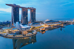 Marina Bay Sortie (Shutter wide shut) Tags: aerialphotography architecture artsandsciencemuseum bluehour djimavicpro marinabaysands singapore twilight dawn reflections