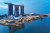 Marina Bay Sortie (Shutter wide shut) Tags: aerialphotography architecture artsandsciencemuseum bluehour djimavicpro marinabaysands singapore twilight dawn reflections
