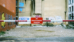 No Unauthorised Persons (Sean Batten) Tags: london england unitedkingdom gb sign city urban nikon d800 50mm graffiti red streetphotography street