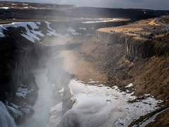 Gullfoss waterfall (802701) Tags: 2018 201803 europe iceland march2018 reykjavik travel gullfoss gullfosswaterfall waterfall water mist people snow scenery landscape
