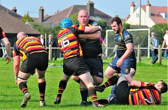 Oldershaw v Heaton Moor 21/4/2018 (sab89) Tags: rugby union league match wirral wallasey belvidere playing fields sunny day tackles tackle hurts