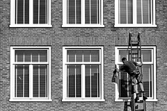 easter cleaning (heinzkren) Tags: fenster windows mann man building gebäude street streetphotography panasonic lumix candid ziegel bricks leiter ladda schwarzweis blackandwhite bw sw monochrome shadow schatten