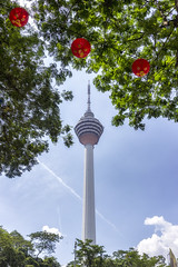 KL Tower (Thomas Rotte) Tags: kl tower kuala lumpur malaysia radio tv communications antenna sky blue trees chinese new year cny lanterns menara