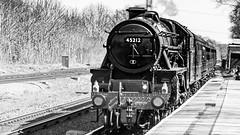 45212 Winchfield 05 April 2016 (5) (BaggieWeave) Tags: winchfield hampshire southwestmainline lswr black5 blackfive 45212 460 cathedralsexpress steam steamengine steamlocomotive steamtrain bw blackandwhite