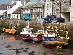 Harbourside, Isle of Whithorn. (Gooders2011) Tags: isleofwhithorn wigtownshire lowtide harbour boats cars houses