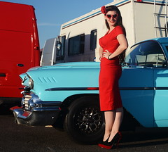 Holly_9206 (Fast an' Bulbous) Tags: classic american chevy oldtimer car vehicle automobile girl woman hot sexy pinup model wife red wiggle dress long brunette hair high heels stockings legs