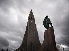 Leifur Eriksson (Feldore) Tags: hallgrimskirkja leifur eriksson statue iceland reykjavik dramatic church sky erikson viking explorer feldore mchugh em1 olympus 1240mm
