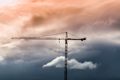 High- Rise Builder. (Omygodtom) Tags: machine weather tamron sky abstract people nikon usgs building cloud red portrait portland oregon